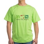 Peace, Love, Whippets Green T-Shirt