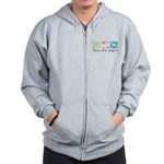 Peace, Love, Whippets Zip Hoodie