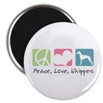 Peace, Love, Whippets Magnet