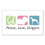 Peace, Love, Whippets Sticker (Rectangle 10 pk)