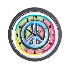 Colorful Peace Sign Wall Clock