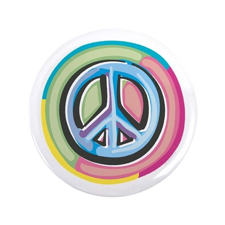"Colorful Peace Sign 3.5"" Button"
