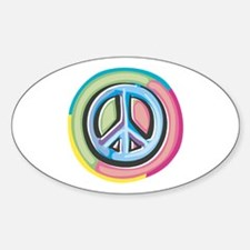Colorful Peace Sign Sticker (Oval)