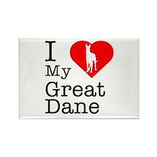 I Love My Great Dane Rectangle Magnet