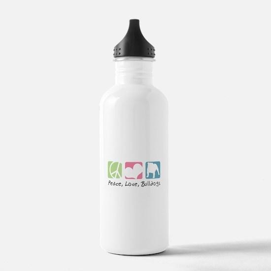 Peace, Love, Bulldogs Water Bottle