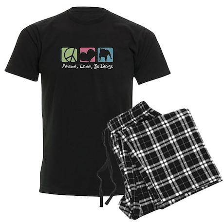 Peace, Love, Bulldogs Men's Dark Pajamas