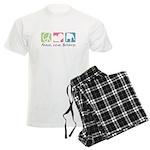 Peace, Love, Bulldogs Men's Light Pajamas