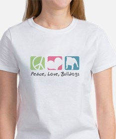 Peace, Love, Bulldogs Women's T-Shirt