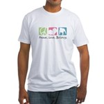Peace, Love, Bulldogs Fitted T-Shirt