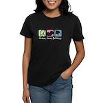 Peace, Love, Bulldogs Women's Dark T-Shirt