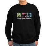 Peace, Love, Bulldogs Sweatshirt (dark)
