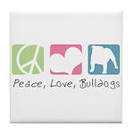 Peace, Love, Bulldogs Tile Coaster