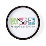 Peace, Love, Bulldogs Wall Clock