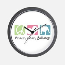 Peace, Love, Bulldogs Wall Clock