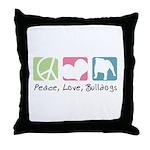 Peace, Love, Bulldogs Throw Pillow