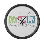 Peace, Love, Bulldogs Large Wall Clock