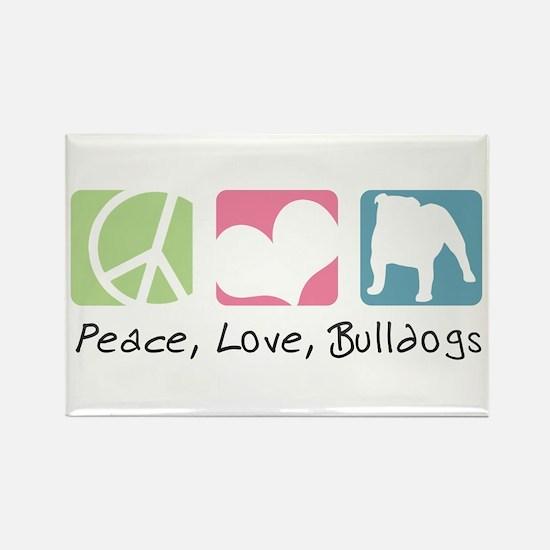 Peace, Love, Bulldogs Rectangle Magnet