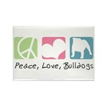 Peace, Love, Bulldogs Rectangle Magnet (100 pack)