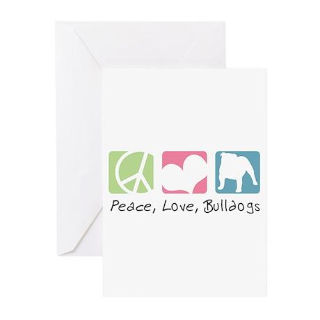 Peace, Love, Bulldogs Greeting Cards (Pk of 20)