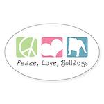 Peace, Love, Bulldogs Sticker (Oval 50 pk)