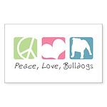 Peace, Love, Bulldogs Sticker (Rectangle 50 pk)