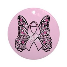 Pink Butterfly Hope Ornament (Round)
