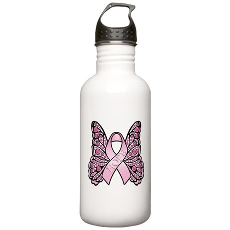 Pink Butterfly Hope Stainless Water Bottle 1.0L