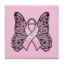 Pink Butterfly Hope Tile Coaster