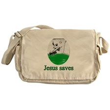 Jesus saves a goal Messenger Bag