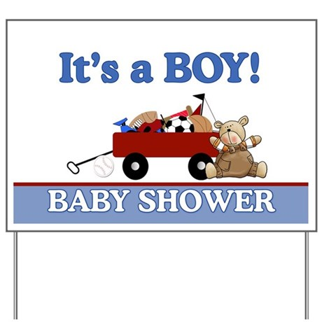 Teddy Bear Little Red Wagon Baby Shower Yard Sign