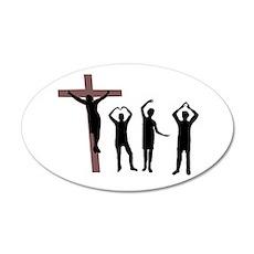 Jesus dancing YMCA 22x14 Oval Wall Peel