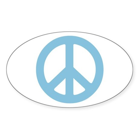 Blue Peace Sign Sticker (Oval 50 pk)