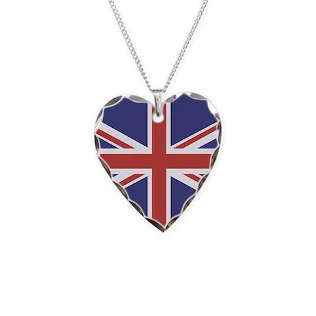 UNION JACK UK BRITISH FLAG Necklace Heart Charm