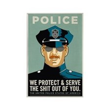 Police Protect & Serve Rectangle Magnet