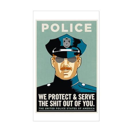 Police Protect & Serve Sticker (Rectangle)