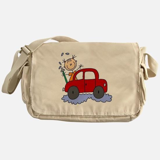 Stick Girl Washing Car Messenger Bag