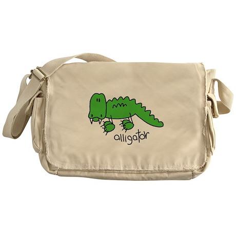 Stick Figure Alligator Messenger Bag
