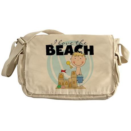 Blond Boy Love the Beach Messenger Bag