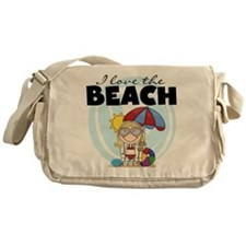 Blond Girl Love the Beach Messenger Bag