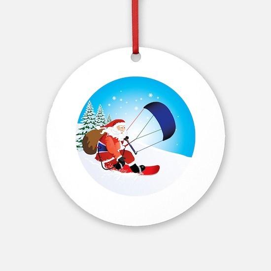 Santa Snowkite Snowboard Ornament (Round)