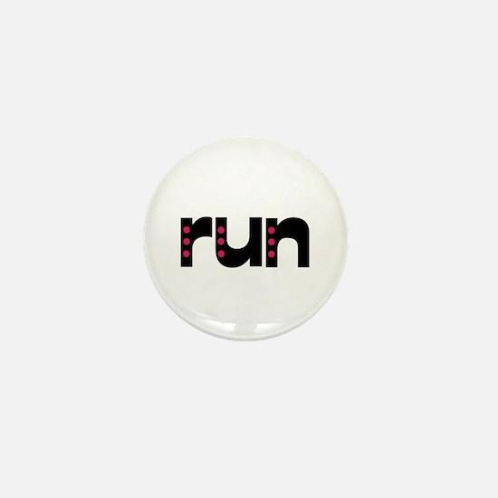 run - pink polka dots Mini Button