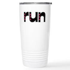 run - pink polka dots Travel Mug