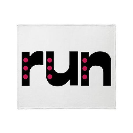 run - pink polka dots Throw Blanket