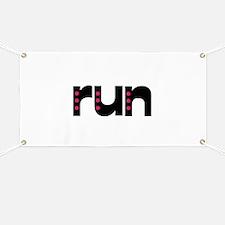run - pink polka dots Banner