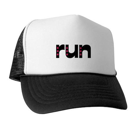 run - pink polka dots Trucker Hat