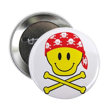 "Smiley Skull 2.25"" Button"