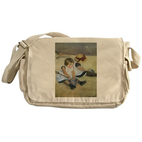 Cassatt Children Playing on Beach Messenger Bag