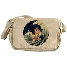 Vintage Art Deco Love in the Surf Messenger Bag