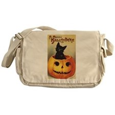 Vintage Halloween, Cute Black Cat Messenger Bag