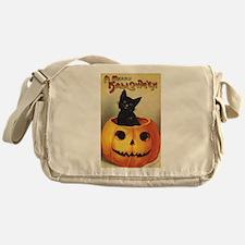 Vintage Halloween, Cute Black Cat Messenger Bag